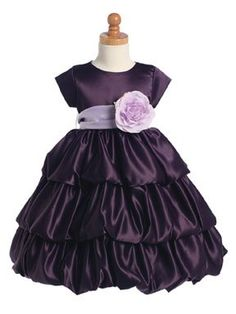 Check out the deal on Purple Satin Bubble Dress w/Color Change Sash - at Adorable Baby Clothing Purple Satin, Plum Purple, Navy Pink, Deep Purple, Lilac Flower Girl Dresses, Purple Dress, Flower Girls, Flower Tea, Homecoming