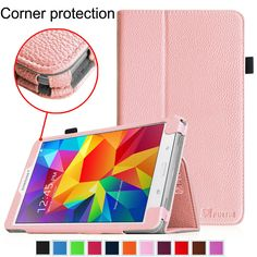 Amazon.com: Fintie Samsung Galaxy Tab 4 7.0 Folio Case - Slim Fit Premium Vegan Leather Cover for Samsung Tab 4 7-Inch Tablet, Leopard Rainbow: Computers & Accessories
