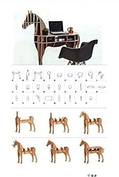 D-Torso Cardboard Animals - Horse Cardboard Furniture, Cardboard Crafts, Wood Crafts, Diy Furniture, Furniture Design, Children Furniture, 3d Cuts, 3d Puzzel, Cardboard Animals