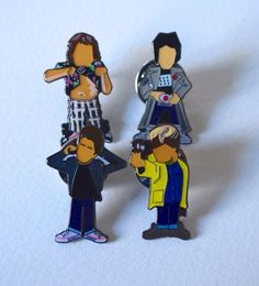 Here We have The Goonies Pin set... Mikey - Mouth - Chunk and Data.......... 25mm enamel pin badge.