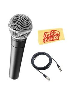 Shure SM58-LC Cardioid Dynamic Vocal Microphone Bundle with XLR Cable and Austin Bazaar Polishing Cloth