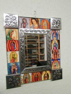 :D ❤️Virgen de Guadalupe Handmade Tin Mirror #2-Mexican Folk Art-11x13 in-Silver