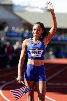 Allyson Felix Photos - Allyson Felix celebrates victory in the Women's 400 Meters Final during the 2016 U.S. Olympic Track
