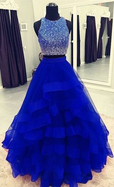 Elegant Tulle Dark Blue Ruffles Ball Gowns, Two Piece Prom Dress, Formal Dress CR 12217 Sequin Prom Dresses, Pretty Prom Dresses, Prom Dresses For Teens, Ball Gowns Prom, Ball Dresses, Cute Dresses, Beaded Dresses, Dress Prom, Blue Ball Gowns