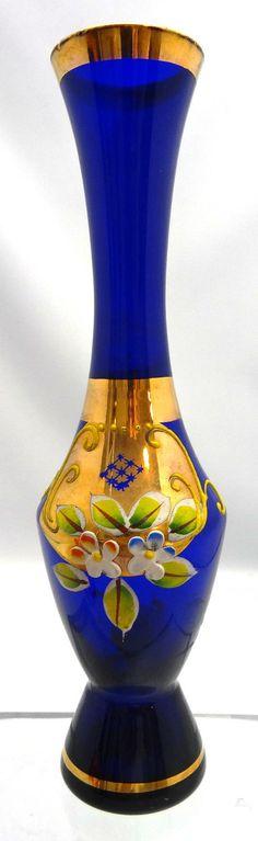 Vintage Bohemian Art Glass Bud Vase, Vintage Cobalt Blue Enamel Floral Design Vase With Gold Trim, Vintage Blue Collectible Vase
