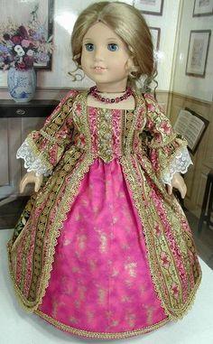 Raspberry Gold Dress Fits 18 inch Doll American Girl Such as Felicity Elizabeth | eBay