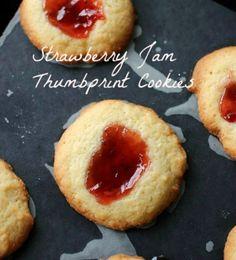 Strawberry Jam Thumbprint Cookies : Vintage Kitchen Notes