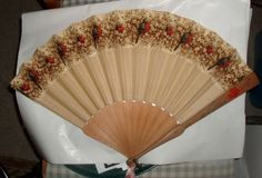 VINTAGE HAND PAINTED CARVED WOODEN LADIES FAN ANTIQUE SILK RED ROBINS & FLOWERS #vintage