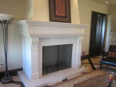 Attractive Fireplace Mantels and Surrounds Ideas for your Afternoon Tea Time: Beautiful Modern Traditional White Fireplace Mantels And Surrounds By Simple White Molding Facing Shelf Ideas White Fireplace Surround, Modern Fireplace Mantels, Fireplace Mantel Surrounds, Stone Fireplace Mantel, Stacked Stone Fireplaces, Fireplace Frame, Fireplace Remodel, Fireplace Design, Fireplace Ideas