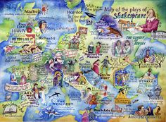 A painted map of all of the plays of William Shakespeare in their approximate locations in Europe to celebrate the 400th anniversary of The Bard's death in April 2016.