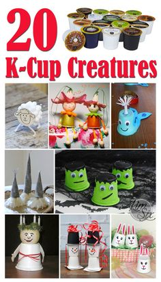 20 Creatures You Can Craft from K-Cups. A great way to upcycle and repurpose KCups.  Crafty critters that kids can make from all those coffee pods that can't be recycled.