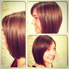 Katie let us cut seven inches of her hair into this sleek swing bob with new golden and auburn highlights - Paul Douglas