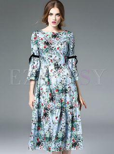 Shop for high quality Half wave chiffon bowknot pepulm a-line dress online at…