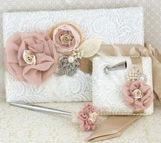 Wedding Guest Book and Pen Set Signature Book in Champagne, Ivory and Blush with Pearls, Feathers and Crystal Brooch, $170.00