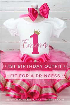 Pink Princess First Birthday Outfit - Baby Girl Birthday Outfit - Pink and Gold Tutu for Girl - Birthday Gift for Girl - Any Age Princess First Birthday, Baby Girl 1st Birthday, 1st Birthday Outfits, Disney Birthday, Birthday Gifts For Girls, Sleeping Beauty Party, Gold Tutu, Tutu Outfits, Ruffle Shirt