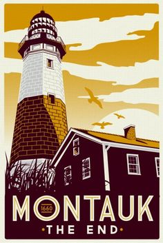 Retro fishing Montauk New York silk screen print...