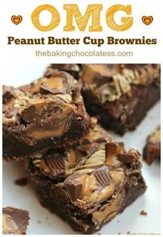 OMG Peanut Butter Cup Brownies pack a powerful chocolate and peanut butter fix that will satisfy beyond happy! All American Dream Brownies! Peanut butter cups and thick, fudgy chocolate brownies are definitely worthy! Peanut Butter Cup Brownies, Peanut Butter Desserts, Köstliche Desserts, Delicious Desserts, Dessert Recipes, Resses Peanut Butter Cups, Chocolate Chip Cookies, Chocolate Brownies, Chocolate Truffles