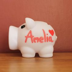 White Personalised Piggy Bank Bespoke Money Box for Savings / Hand Illustrated Fun Artisan Gift for Her / Kids / Newborn by eBuyGB on Etsy