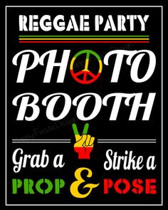 Reggae Photo Booth Props33 Pieces 24 props8 by HappyFiestaDesign