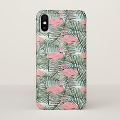 Cute Pink Flamingoes Palm Leafs Pattern iPhone X Case - patterns pattern special unique design gift idea diy