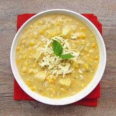 (Lighter) Corn Chowder with Pepper Jack Cheese [Once Upon A Cutting Board] (vegetarian with vegetable broth)