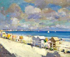 Konstantin Korovin (1861-1939) The shore at Deauville