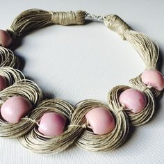 Roses Necklace - linen necklace 100% Handmade Colors •linen-beige •light pink beaded Materiais: •linen •pink stone •jewelry clasp Measurement: 56cm/ 22 in Thanks you