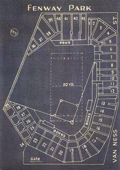 Vintage Boston Red Sox Fenway Park Blueprint on Canvas Sports Stadium Tickets Art Home Decor Giclee