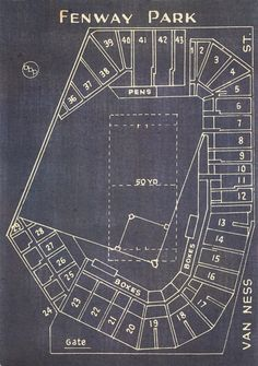 Vintage Boston Red Sox Fenway Park Blueprint