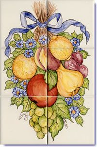 Country French Fruits Desigs on Hand Painted Tiles