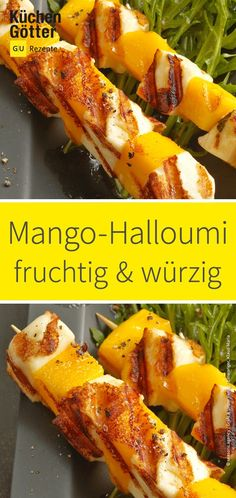 Mango halloumi kebabs on rocket salad - Fruity, juicy mango and spicy Halloumi . - Mango halloumi kebabs on rocket salad – Fruity, juicy mango and spicy Halloumi complement each o - Healthy Muffin Recipes, Healthy Smoothies, Clean Eating Recipes, Lunch Smoothie, Rocket Salad, Kebabs, Summer Recipes, Food Inspiration, Food Porn