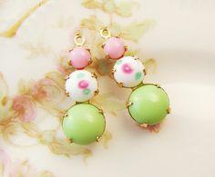 Vintage Mint Green, Pink and Petit Flower Rhinestone Drops by alyssabethsvintage