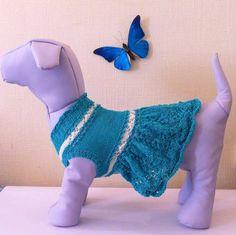 Knit Summer Dress For Dog. Small Dog Summer Dress. Pet Knit Clothing. Dress For Small Dogs. Size S
