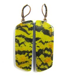 Polymer Clay Earrings - Fabulous Faux Collection - Yellow Tiger Turquoise Polymer Clay Earrings