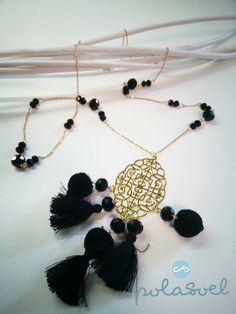 Chain necklace, with gold plated elements,black floss,lazer cut element,iridescent black crystals by polasoeljewelry on Etsy Lazer Cut, Black Crystals, Iridescent, Crochet Necklace, Great Gifts, Necklaces, Chain, Gold, Etsy