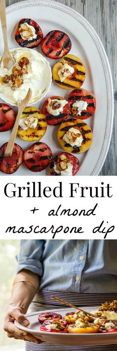 Easy summer dessert idea: grill fruit and serve with an easy fruit dip recipe. It's an easy gluten free dessert that everyone will love! @DessertForTwo