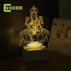 CNHIDEE Novel Engraved Table 3d LED Light Home Decor Fairy Lamp Lakshmi Night Mission Led RGB Tafellamp Lampade Da Tavolo