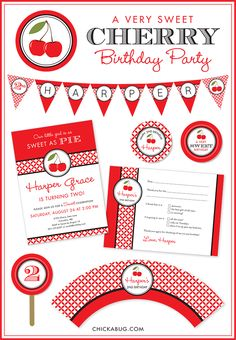 Cherry theme paper goods and party printables at Chickabug.com #cherryparty #birthdayparty #chickabug
