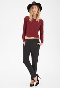 Creased-Front Trousers in Brown or Taupe | FOREVER21 - $20 - size 2-