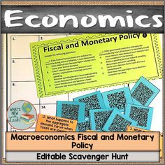 Macroeconomics Fiscal and Monetary Policy Scavenger Hunt Middle School, High School, Federal Budget, Monetary Policy, Social Studies Classroom, Secondary Teacher, School Subjects, Class Activities, Google Classroom