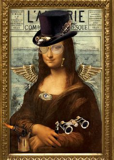 Funny Mona Lisa Steampunk - This would actually be easy to do. Monnalisa Kids, Lisa Gherardini, La Madone, Mona Lisa Parody, Mona Lisa Smile, Tachisme, Pop Art, Many Faces, Italian Artist