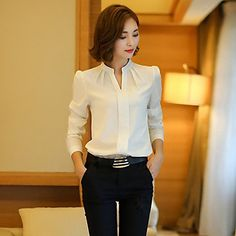 Women's+Solid+White+Blouse+,+Stand+Long+Sleeve+–+USD+$+12.99