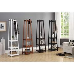 "Vassen 3-Tier Storage Shelf Standing Coat Rack - 72""h x 17""l x 17""l Display Shelves, Storage Shelves, Wall Shelves, Metal Walls, Wood And Metal, Coat Rack Shelf, Coat Racks, Coat Hanger, Standing Coat Rack"