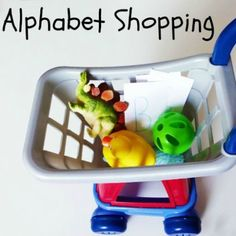 Alphabet Shopping- shop for items around the room that start with a letter.