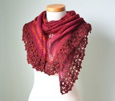 Easy Crochet Shawl Patterns | Knit crochet pattern Red triangle PDF
