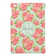 Elegant Retro Floral Pink Mint Girly Personalized Cover For The iPad Mini    Visit the Zazzle Site for More: http://www.zazzle.com/?rf=238228028496470081 [Referral Link]