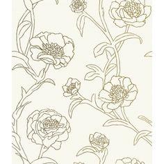 Tempaper Peonies Wallpaper - Gold Leaf
