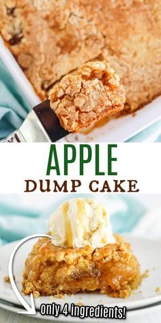 Make this easy apple dessert with just FOUR ingredients! You don't even need a mixing bowl for Apple Dump Cake. Just add everything to your baking dish and your homemade apple cake is ready in under an hour. Blueberry Dump Cakes, Apple Dump Cakes, Dump Cake Recipes, Sweets Recipes, Fruit Recipes, Apple Recipes, Apple Cake, Baking Recipes, Apple Desserts