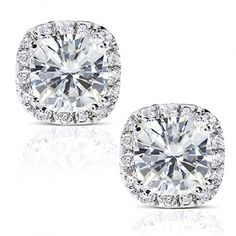 Cushion-cut Moissanite and Diamond Stud Earrings 3 Carat (ctw) in 14k White Gold . Available at www.Brandinia.com