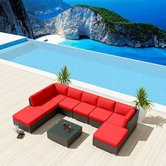 NEW Uduka Ibiza 9pcs $1650 Outdoor Red Sectional Patio Furniture Espresso Brown Wicker Sofa Set All Weather Couch Uduka http://www.amazon.com/dp/B00TE8EP6Y/ref=cm_sw_r_pi_dp_CJDivb0NB14NS